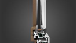 Modellazione 3D finestra alluminio e legno vista frontale