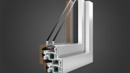 Modellazione 3D finestra alluminio e legno vista esterna