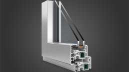 Modellazione 3D finestra alluminio e legno vista interna