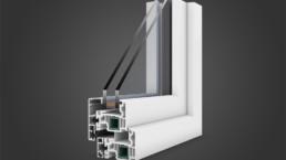 Modellazione 3D finestra legno e pvc vista esterna